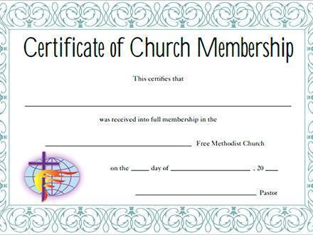 Certificate of Membership Church