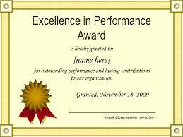 Certificate of Award Sample