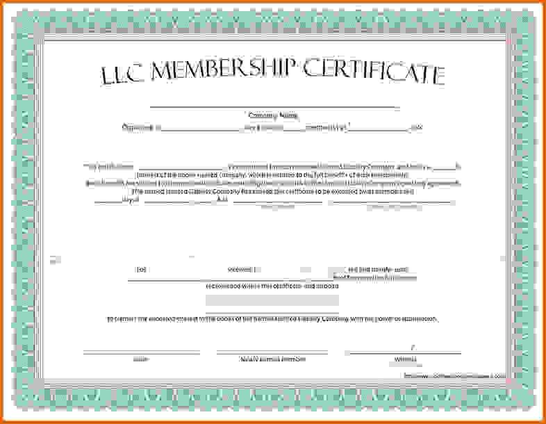 Certificate of Membership LLC