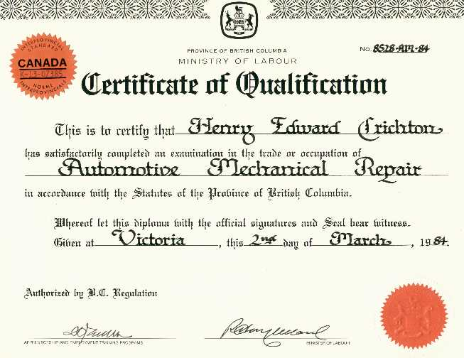 Certificate of Qualification from a Canadian Province