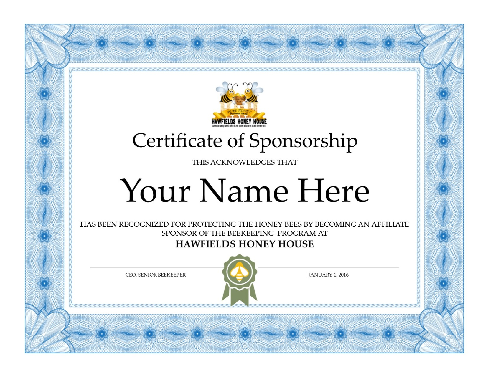 Restricted Certificate of Sponsorship