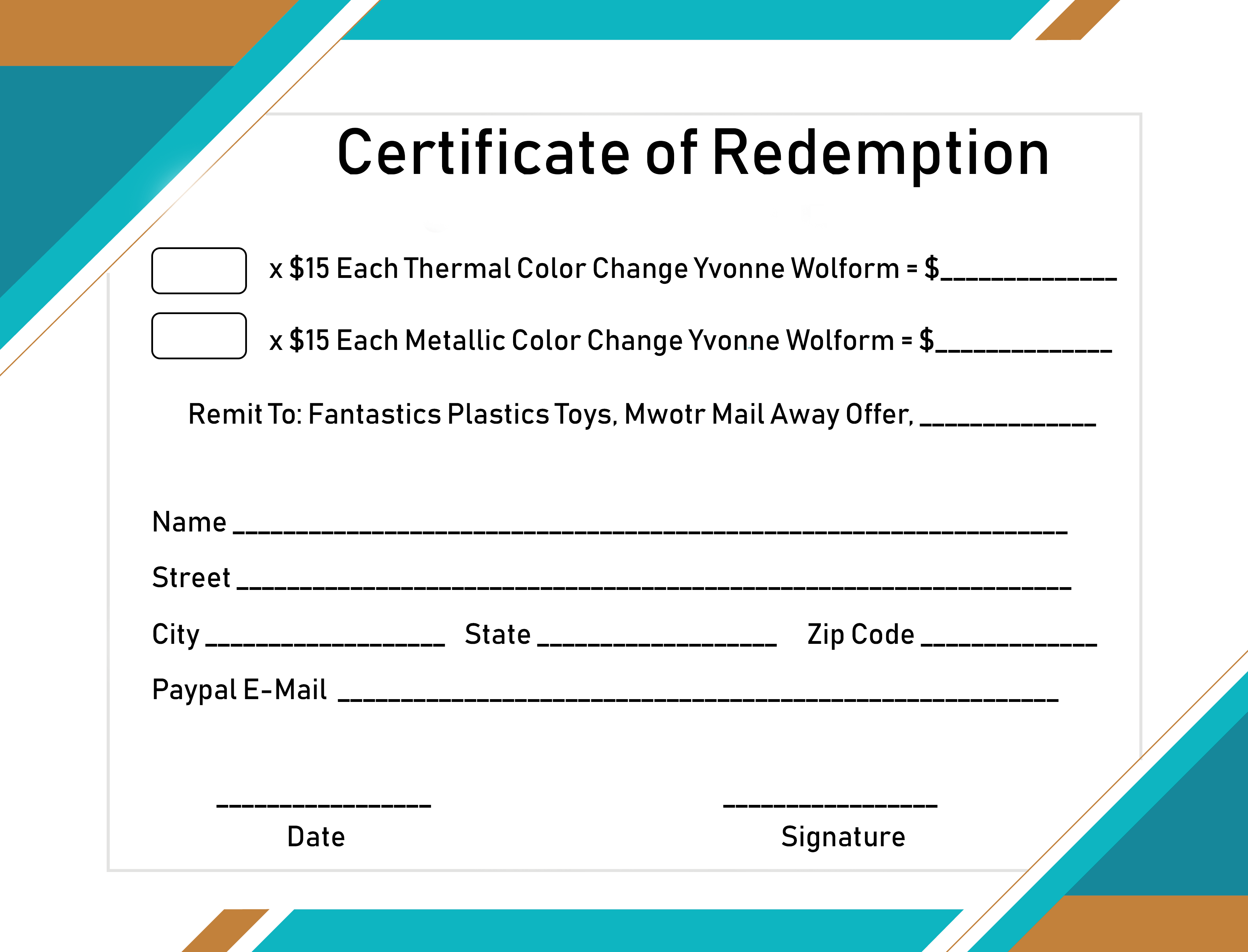Certificate of Redemption Form