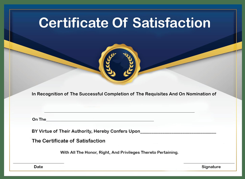 How to Get Certificate of Satisfaction?