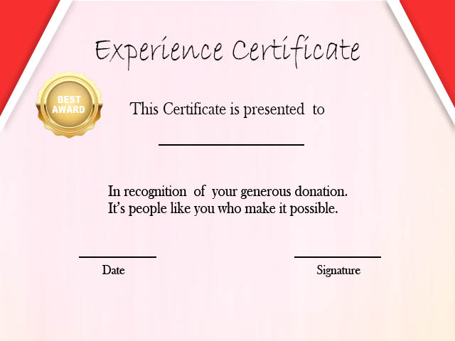 Experience Certificate For Job