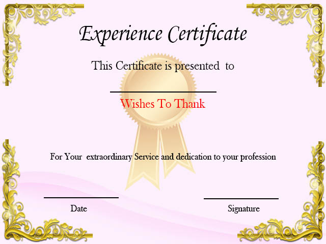 Certificate of Experience For Job